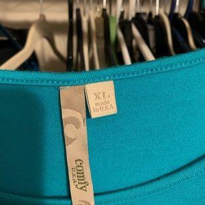 XL Teal Green Comfy USA Asymmetrical Top